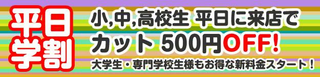 平日学割 小学生、中学生、高校生 平日に来店でカット500円OFF。大学生・専門学校生様もお得な新料金スタート。